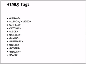 HTML5tags